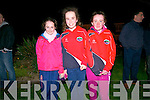 Bethany Moroney, Deirbhila Sheehy and Blaithin Sheehy welcoming the PCD footballers after winning the Corn Uí hÓgain All-Ireland in Croke Park on Saturday night.
