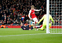 Nacho Monreal of Arsenal sees the chance disappear during the Premier League match between Arsenal and Huddersfield Town at the Emirates Stadium, London, England on 29 November 2017. Photo by Carlton Myrie / PRiME Media Images.