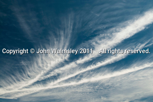 Cirrus clouds above southern England on a windy day.
