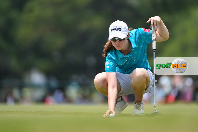 Leona Maguire (IRL) lines up her putt on 9 during round 2 of the 2019 US Women's Open, Charleston Country Club, Charleston, South Carolina,  USA. 5/31/2019.<br /> Picture: Golffile | Ken Murray<br /> <br /> All photo usage must carry mandatory copyright credit (© Golffile | Ken Murray)