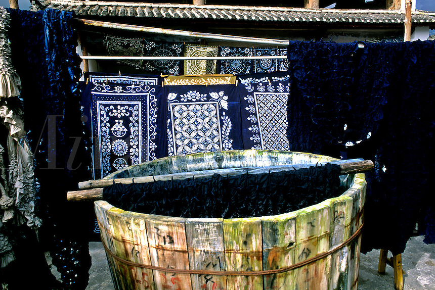 Blue tie dye art and Batik work in Lijang China