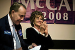 September 12, 2008. Cary, NC..  Responding to the highly contested race for the US Senate seat of North Carolina, between herself and Kay Hagan, incumbent Elizabeth Dole held a rally at the VFW hall in Cary to raise support for local Republican candidates and the presidential ticket of John McCain and Sarah Palin.. Dole was joined by her husband, and former Senator and presidential candidate, Bob Dole, left.