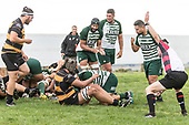 Referee Blair Tribe awards a try to Peter White. Counties Manukau Premier Counties Power Club Rugby Round 4 game between Bombay and Manurewa, played at Bombay on Saturday March 31st 2018. <br /> Manurewa won the game 25 - 17 after trailing 15 - 17 at halftime.<br /> Bombay 17 - Ki Anufe, Chay Macwood tries, Tim Cossens, Ki Anufe conversions,  Ki Anufe penalty. <br /> Manurewa Kidd Contracting 25 - Peter White 2 , Willie Tuala 2 tries, James Faiva conversion,  James Faiva penalty.<br /> Photo by Richard Spranger.