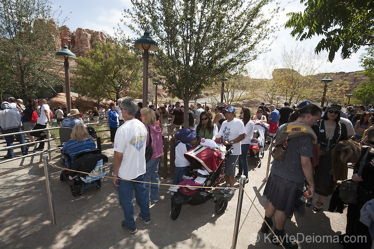 June 15-2012 - People stood in line for up to 7 hours for the Radiator Springs Racers on opening day for Cars Land at the Disney California Adventure theme park at Disneyland Resort in Anaheim, CA