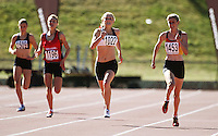 Women's under-16 400m champion Katrina Anderson of Auckland holds off (from left) Megan Blair (Wellington), Lauren Nicol (Canterbury) and Katherine Camp (Waikato Bay of Plenty) during day two of the National athletics championships at Newtown Park, Wellington, New Zealand on Saturday, 28 March 2009. Photo: Dave Lintott / lintottphoto.co.nz