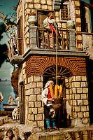 Roma 22 Novembre 2012.Inaugurata l'esposizione intermazionale 100 Presepi.Il presepe in stile '700 napoletano. Personaggi in terracotta lavorati e dipinti a mano, vestiti in seta; scenografia in legno e sughero dipinta a mano e frutti in cera. Alfonso Pepe (Campania).Rome November 22 st 2012  .Inaugurated the exhibition intermazionale 100 Nativity Scenes.The crib in Neapolitan style 700. Statues worked in terracotta and hand painted silk dresses; scenery of wood and cork, hand-painted and fruits in wax. Alfonso Pepe (Campania)