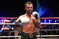 Chris Bourke (black/gold shorts) defeats Rafael Castillo during a Boxing Show at Cliffs Pavilion on 17th February 2020