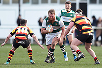 Jordan Els of Ealing Trailfinders takes on the Richmond defence. Greene King IPA Championship match, between Richmond and Ealing Trailfinders on March 9, 2019 at the Richmond Athletic Ground in London, England. Photo by: Patrick Khachfe / Onside Images