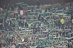 23.10.2014 Milan, Italy. Inter Milan vs ASSE Saint Etienne.<br /> ASSE supporters in action during the UEFA Europa League game played at the Stadio Guiseppe Meazza.