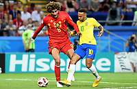 KAZAN - RUSIA, 06-07-2018: NEYMAR (Der) jugador de Brasil disputa el balón con Marouane FELLAINI (Izq) jugador de Bélgica durante partido de cuartos de final por la Copa Mundial de la FIFA Rusia 2018 jugado en el estadio Kazan Arena en Kazán, Rusia. / NEYMAR (R) player of Brazil fights the ball with Marouane FELLAINI (L) player of Belgium during match of quarter final for the FIFA World Cup Russia 2018 played at Kazan Arena stadium in Kazan, Russia. Photo: VizzorImage / Julian Medina / Cont
