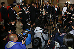 The Press conference after inspection,APRIL 3, 2014 : IOC committee members inspected the athletes village, Koji Murofushi director, Yoichi Masuzoe Tokyo governor  and U23 Rowing national team's member was welcomed at Harumi Port Terminal in Tokyo, Japan. (Photo by AFLO SPORT)