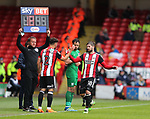 George Baldock of Sheffield Utd replaces Kieron Freeman of Sheffield Utd during the championship match at the Bramall Lane Stadium, Sheffield. Picture date 28th April 2018. Picture credit should read: Simon Bellis/Sportimage