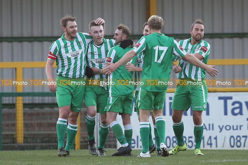 Dan Hobbs scores third goal for Soham and celebrates during Romford vs Soham Town Rangers, Ryman League Division 1 North Football at Ship Lane on 3rd December 2016
