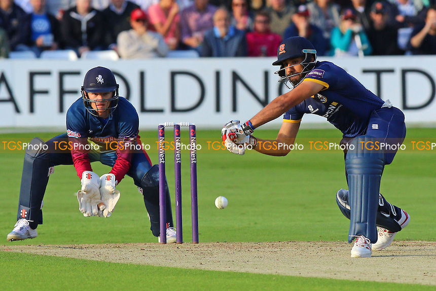 Ravi Bopara in batting action for Essex as Sam Billings looks on from behind the stumps during Essex Eagles vs Kent Spitfires, Nat West T20 Blast Cricket at the Essex County Ground on 1st July 2016