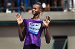 Mutaz Essa Barshim of Qatar celebrate after winning the Men's High Jump on the final day of the Prefontaine Classic at Hayward Field in Eugene, Oregon, USA, 30 MAY 2015. (EPA photo by Steve Dykes)