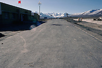 The Karakoram Highway, which is a 1,300km road from Kashgar in western China to Islamabad in Pakistan, was built in the 1970s and 1980s along a spur of the old Silk Road. The last town on the Chinese side of the border is bleak place called Tashkurgan and their actual border post, pictured here, is some miles away, fringed by snow-capped mountains.