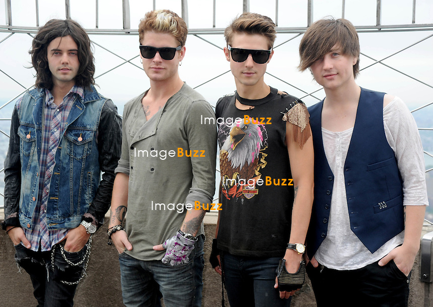 """Hot Chelle Rae, the members of the music group ; Ian Keaggy, Nash Overstreet, Ryan Follese, and Jamie Follese visit The Empire State Building in New York City. The band is best known for their songs : """"Tonight, Tonight,"""" """"I Like It Like That""""..New York, July 19, 2012."""