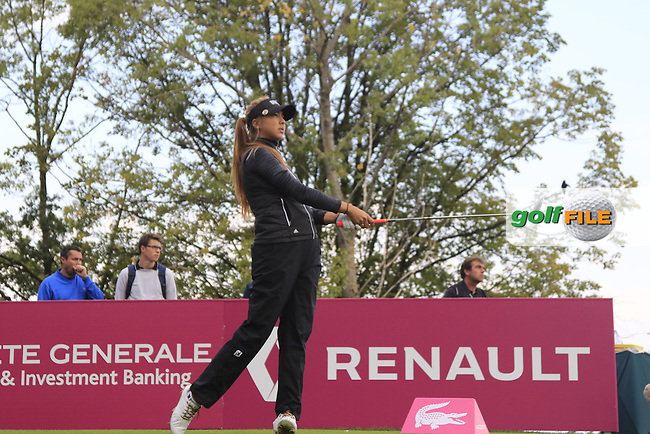 Alison Lee (USA) tees off the par3 5th hole during Friday's Round 2 of the LPGA 2015 Evian Championship, held at the Evian Resort Golf Club, Evian les Bains, France. 11th September 2015.<br /> Picture Eoin Clarke | Golffile