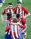 Atletico de Madrid's Angel Correa, Jose Maria Gimenez, Filipe Luis, Antoine Griezmann and Lucas Hernandez celebrate goal during La Liga match. April 15,2017. (ALTERPHOTOS/Acero)