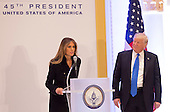 President-elect of The United States Donald J. Trump listens to First Lady-elect Melania Trump as she speaks to Republican leadership January 19, 2017 the day before his swearing in as 45th President of The United States. <br /> Credit: Chris Kleponis / Pool via CNP