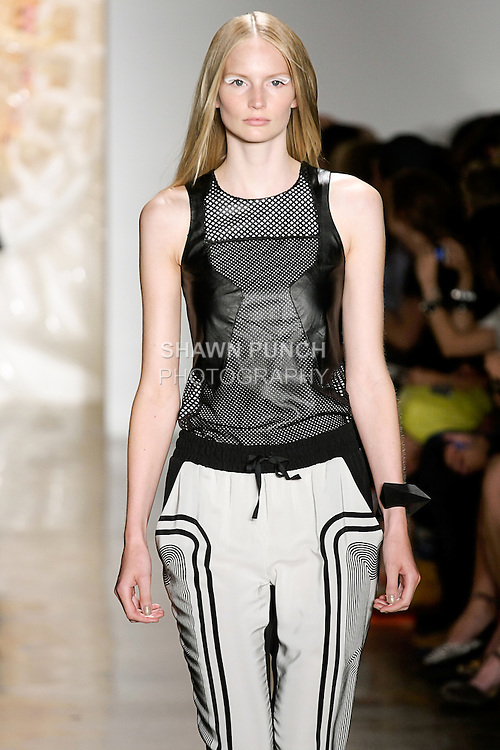 Katrin walks runway in an outfit from the Ohne Titel Spring Summer 2013 collection by Alexa Adams and Flora Gill, during Milk Made Fashion Week Spring 2013 in New York City.