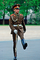 Soldier marching by the eternal flame in Alexander Gardens, Moscow