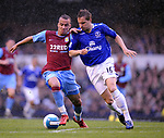 Gabriel Agbonlahor of Aston Villa tussles with Phil Jagielka of Everton during the Premier League match at Goodison Park  Stadium, Liverpool. Picture date 27th April 2008. Picture credit should read: Simon Bellis/Sportimage
