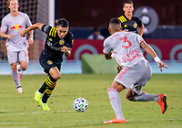 16th July 2020, Orlando, Florida, USA;  Columbus Crew midfielder Lucas Zelarrayan (10) runs with the ball during the MLS Is Back Tournament between the Columbus Crew SC versus New York Red Bulls on July 16, 2020 at the ESPN Wide World of Sports, Orlando FL.