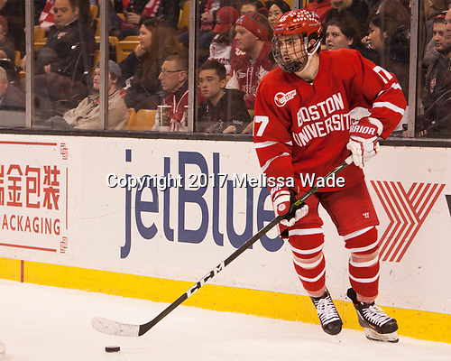 Dante Fabbro (BU - 17) - The Boston University Terriers defeated the Boston College Eagles 3-1 in their opening Beanpot game on Monday, February 6, 2017, at TD Garden in Boston, Massachusetts.