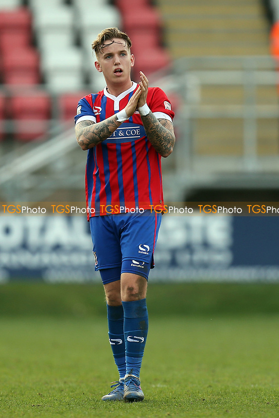 Jordan Maguire-Drew of Dagenham applauds the crowd after being substituted during Dagenham & Redbridge vs Forest Green Rovers, Vanarama National League Football at the Chigwell Construction Stadium on 11th March 2017
