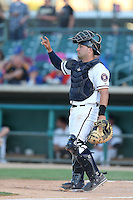 Jake Rodriguez #16 of the Lancaster JetHawks during a game against the Bakersfield Blaze at The Hanger on May 13, 2014 in Lancaster California. Lancaster defeated Bakersfield, 1-0. (Larry Goren/Four Seam Images)