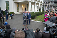 Incoming United States House Minority Leader Kevin McCarthy (Republican of California), left and incoming US House Minority Whip Steve Scalise (Republican of Louisiana) meet reporters at the White House after meeting with US President Donald J. Trump on border security and reopening the federal government at the White House in Washington, DC on Wednesday, January 2, 2018.<br /> Credit: Ron Sachs / CNP/AdMedia