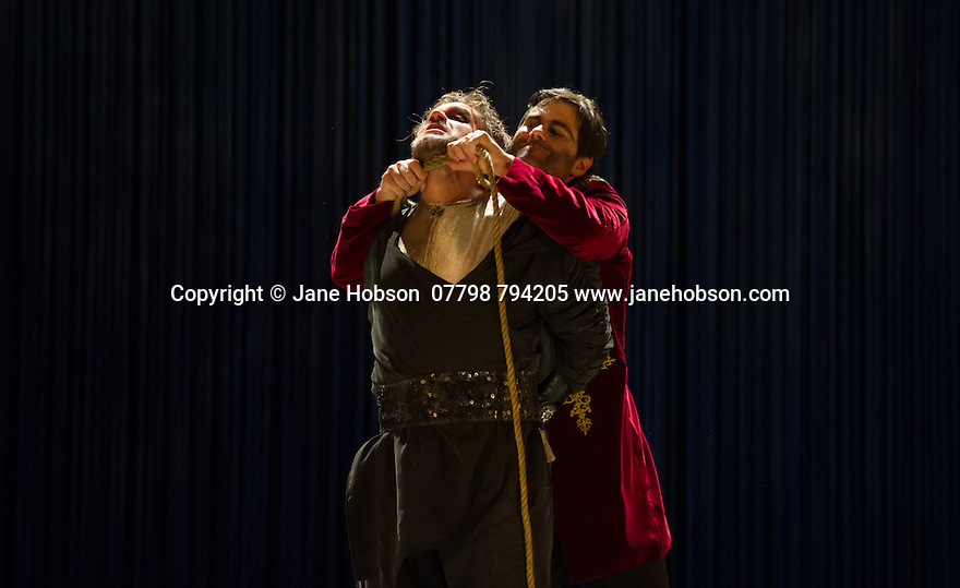 London, UK. 15.10.2014. English Touring Opera presents OTTONE, by George Frideric Handel, directed by James Conway, at the Hackney Empire. Picture shows: Clint van der Linde (Ottone - back) and Grant Doyle (Emireno - front).  Photograph © Jane Hobson.