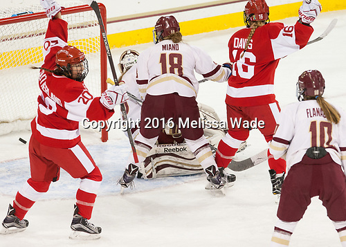 Samantha Sutherland (BU - 20), Sammy Davis (BU - 16) - The Boston College Eagles defeated the visiting Boston University Terriers 5-3 (EN) on Friday, November 4, 2016, at Kelley Rink in Conte Forum in Chestnut Hill, Massachusetts.The Boston College Eagles defeated the visiting Boston University Terriers 5-3 (EN) on Friday, November 4, 2016, at Kelley Rink in Conte Forum in Chestnut Hill, Massachusetts.