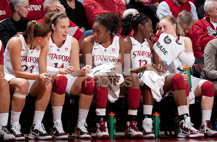 STANFORD, CA - January 8, 2011: The starting five of the Stanford Cardinal women's basketball team during Stanford's game against Arizona State at Maples Pavilion. Stanford won 82-35.