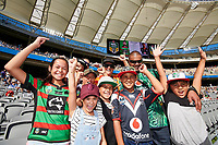 Warriors fans show their colours, Rabbitohs v Vodafone Warriors, NRL rugby league premiership. Optus Stadium, Perth, Western Australia. 10 March 2018. Copyright Image: Daniel Carson / www.photosport.nz