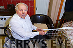 89 year old Chas Laide at home in the Cashen in Ballyduff showing the art of making a fishing net.
