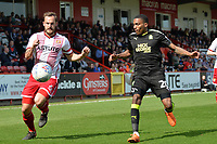 Luke Wilkinson of Stevenage and Jevani Brown of Cambridge United during Stevenage vs Cambridge United, Sky Bet EFL League 2 Football at the Lamex Stadium on 14th April 2018