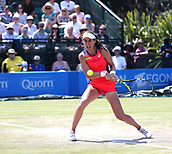 June 17th 2017, Nottingham, England;WTA Aegon Nottingham Open Tennis Tournament day 6;  Backhand from Johanna Konta of Great Britain who defeated Magdalena Rybarikova of The Slovak Republic in the semi final by two sets to love