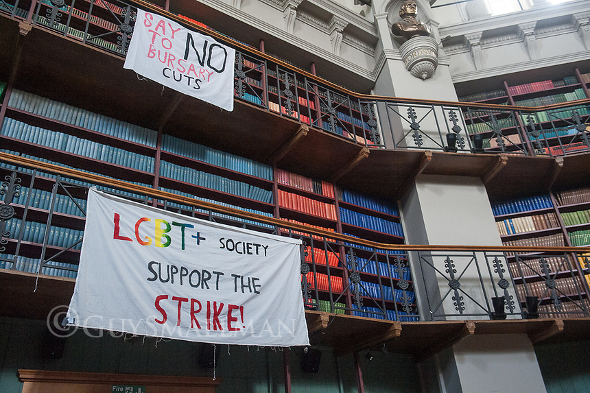 Students and Queen Mary's University in East London occupy the Octagan building in support of their striking lecturers. 20-3-18
