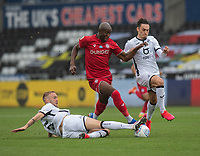 Bristol City's Benik Afobe (centre) battles with Swansea City's Jay Fulton (left) and Connor Roberts (right) <br /> <br /> Photographer David Horton/CameraSport<br /> <br /> The EFL Sky Bet Championship - Swansea City v Bristol City- Saturday 18th July 2020 - Liberty Stadium - Swansea<br /> <br /> World Copyright © 2019 CameraSport. All rights reserved. 43 Linden Ave. Countesthorpe. Leicester. England. LE8 5PG - Tel: +44 (0) 116 277 4147 - admin@camerasport.com - www.camerasport.com