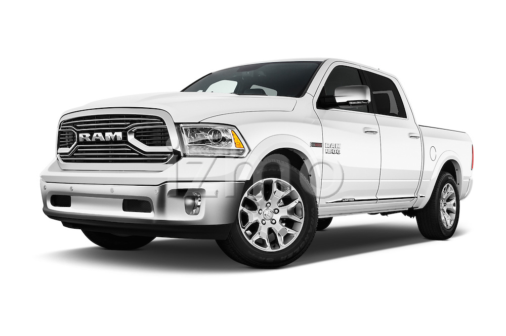Stock pictures of low aggressive front three quarter view of 2016 Ram 1500 Laramie-Limited-Crew 4 Door Pickup Low Aggressive