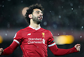 17th March 2018, Anfield, Liverpool, England; EPL Premier League football, Liverpool versus Watford; Mohammed Salah of Liverpool celebrates his hat trick goal after 77 minutes