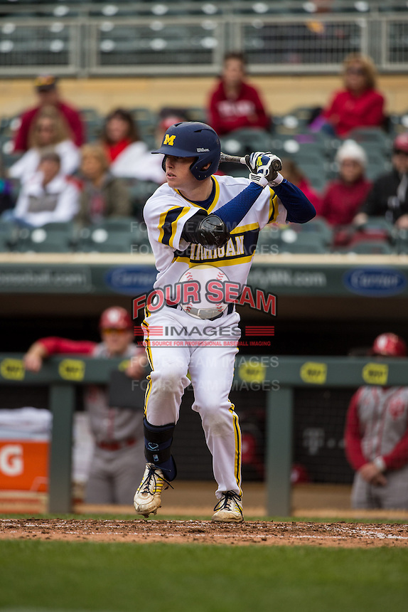 Jacob Cronenworth (2) of the Michigan Wolverines bats during a 2015 Big Ten Conference Tournament game between the Michigan Wolverines and Indiana Hoosiers at Target Field on May 20, 2015 in Minneapolis, Minnesota. (Brace Hemmelgarn/Four Seam Images)