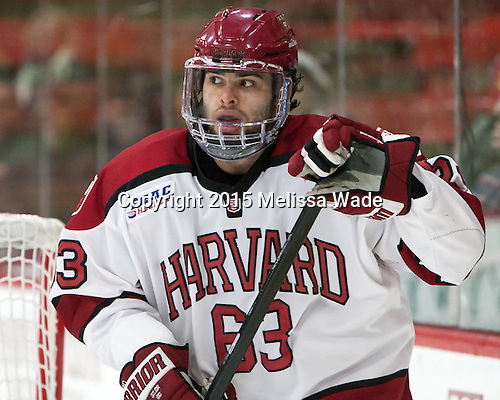 Colin Blackwell (Harvard - 63) - The Harvard University Crimson defeated the Brown University Bears 4-3 to sweep their first round match up in the ECAC playoffs on Saturday, March 7, 2015, at Bright-Landry Hockey Center in Cambridge, Massachusetts.