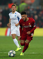 5th November 2019; Anfield, Liverpool, Merseyside, England; UEFA Champions League Football, Liverpool versus Genk; Alex Oxlade-Chamberlain of Liverpool brings the ball forward over the half way line
