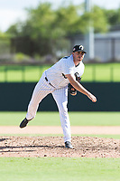 Glendale Desert Dogs relief pitcher Zach Thompson (49), of the Chicago White Sox organization, follows through on his delivery during an Arizona Fall League game against the Scottsdale Scorpions at Camelback Ranch on October 16, 2018 in Glendale, Arizona. Scottsdale defeated Glendale 6-1. (Zachary Lucy/Four Seam Images)