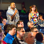 "Sept. 19, 2012 - Hempstead, New York, U.S. - College student, a young man, in audience asks question toFormer Florida Governor JEB BUSH, speaking at Hofstra University about ?America's Promise in Uncertain Times.? This lecture is part of 'Debate 2012 Pride Politics and Policy"" a series of events leading up to when Hofstra hosts the 2nd Presidential Debate between Pres. Barack Obama and Mitt Romney, on October 16, 2012, in a Town Meeting format."