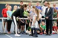 31 October 2017 - Princess Kate, Duchess of Cambridge receives a bunch of flowers during a visit at the Lawn Tennis Association (LTA) at the National Tennis Centre in southwest London. Duchess of Cambridge visited the LTA, the national governing body of tennis, where she was briefed on the organisations latest activities and objectives, and had the opportunity to watch a number of tennis demonstrations at the National Tennis Centre's on-court facilities. Photo Credit: ALPR/AdMedia