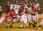 Inglewood, CA 10/09/14 - Justin Wiley (Morningside #14) and Nick Orlando (Peninsula #15) in action during the Palos Verdes Peninsula vs Morningside CIF Varsity football game at Coleman Field in Inglewood.  Peninsula defeated Morningside 24-13.